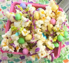 Bunny Bait! Recipe Desserts with popped popcorn, chocolate, M&M's Candy, sprinkles