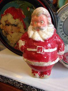 Vintage paper mache pulp Santa by stuffinthetrunk on Etsy
