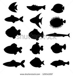 stock-vector-vector-black-silhouettes-fish-set-icons-abstract-design-logo-logotype-art-128341097.jpg (450×470)