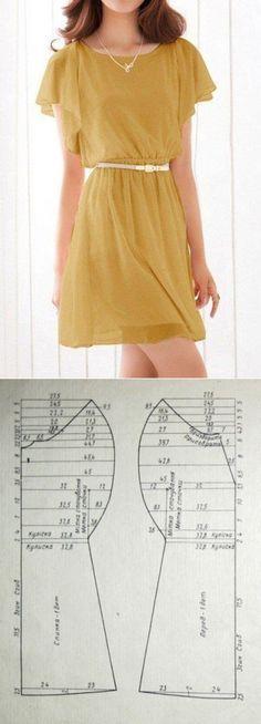 Портной • Шитье, переделки - легко!Выкройка платья с рукавами-крылышками Размер 46 русский