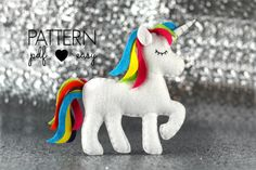 Unicorn Sewing Pattern Unicorn Party Favor Cake by MaisieMooNZ More