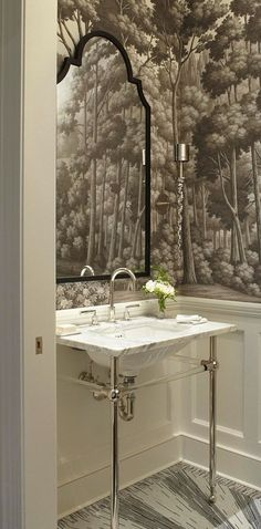 """Gorgeous Ritz-Carlton Showhouse powder room by Frank Pontiero. """"English Landscape"""" wall covering by De Gournay; custom tile floor"""