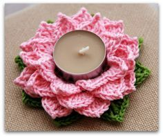 Flor de Loto Crochet - Portavelas