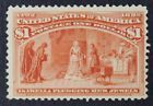 CKStamps: US Stamps Collection Scott#241 $1 Columbian Unused NG Tiny Thin