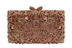 YILONGSHENG Clutch Bags With Crystal For Women EB0109 Champagne Rain Shower, Clutch Bags, Evening Bags, Straw Bag, Champagne, Crystals, Stuff To Buy, Women, Rain