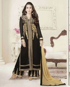 Black palazzo embellished suit with front slit   1. Black poly georgette palazzo suit2. Comes with matching bottom and dupatta3. Can be stitched upto bust size 42 inches