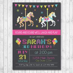 Carousel Birthday Invitation Carousel Invite by funkymushrooms