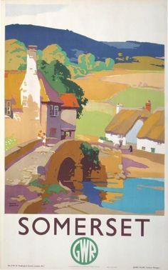 SOMERSET vintage travel poster, Frank Sherwin, 1930