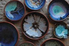 ceramic bowls by Sevo, ceramics, blue, turquoise https://www.facebook.com/sevomade