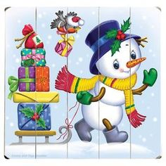 "Plank-style wood wall decor with a snowman design.   Product: Wall decorConstruction Material: WoodFeatures: Ready to hangDimensions: 13"" H x 13"" W"