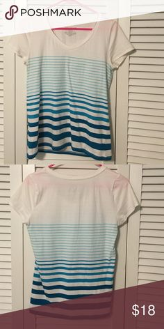 Ann Taylor striped tee White Ann Taylor tee with ombré blue/teal stripes. So cute and comfy! Worn twice. Ann Taylor Tops Tees - Short Sleeve