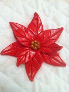 Poinsettia Handmade Polymer Clay Christmas Ornaments Set of 4