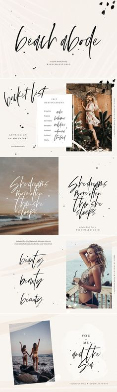 Beach Abode Brush Script Font by Wilde Mae Studio on / Aloha! Beach Abode is a stylish hand-lettered brush […] Brush Script Font, Script Fonts, All Fonts, Fonts Quotes, Handwritten Quotes, Calligraphy Fonts, Apps Fotografia, Boli 3d, Typographie Fonts