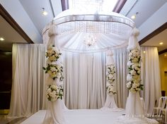 all white mandap, fabric and floral mandap, round mandap, Chuppah - by Designing Trendz