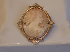Victorian Carved Shell Cameo Brooch Antique by Roadsidebridge