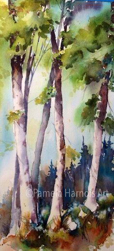 Pamela Harnois, It Finds You Baum Landschaft Art Aquarelle, Watercolor Pictures, Watercolor Trees, Watercolor Landscape, Watercolour Painting, Landscape Art, Painting & Drawing, Landscape Paintings, Watercolours
