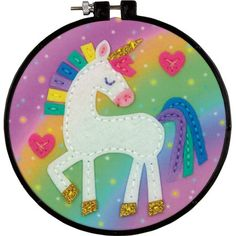 Dimensions Unicorn Learn-A-Craft - Felt Decor Applique Kit. Learn a classic art! This needle art kits is perfect for beginners with its simple yet fun designs. Applique Stitches, Felt Applique, Felt Crafts, Fabric Crafts, Paper Crafts, Kid Crafts, Easy Crafts, Beginner Felting, Craft Kits For Kids