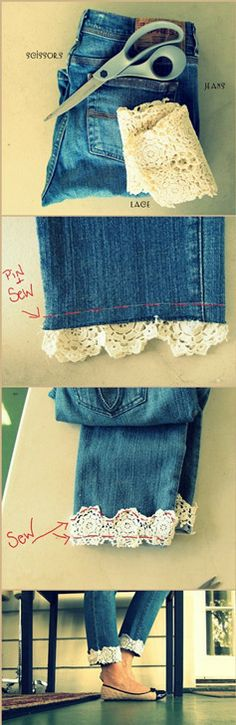 Creative Life Hacks Every Girl Should Know DIY Jeans with lace trim Lace Jeans, Diy Jeans, Cuffed Jeans, Skinny Jeans, Cutoffs, Crop Jeans, Lace Shorts, Denim Skirt, Clothes Refashion
