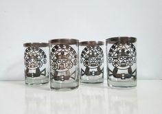 Aztec Etched Shot Glasses Vintage 1950s 1960s by looseendsvintage, $39.00