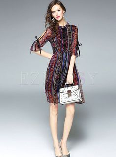 Shop for high quality Vintage Bowknot Stand Collar Half Sleeve Skater Dress online at cheap prices and discover fashion at Ezpopsy.com