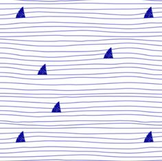 sharks blue on white by igotstripes_studio on spoonflower