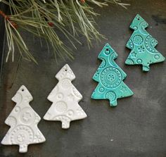 Ceramic Christmas Tree Ornaments Lots of Lace Ceramic by Ceraminic