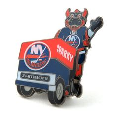 New York Islanders Mascot on Zamboni Lapel Pin
