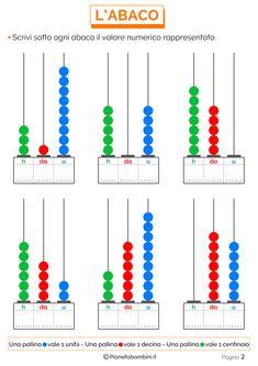 Esercizi sull'Abaco da Stampare per la Scuola Primaria | PianetaBambini.it Teaching Math, Teaching Ideas, Google Drive, Office Supplies, School, Erika, Christian, Studio, Math Activities