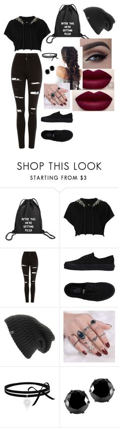 """Dark Sided"" by karinablood on Polyvore featuring Amen, Topshop, Vans, The North Face and West Coast Jewelry"