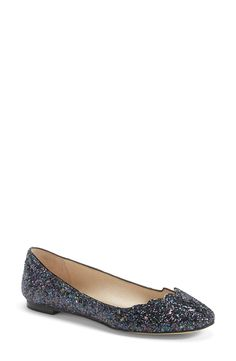 How cute are these playful blue glitter ballet flats?