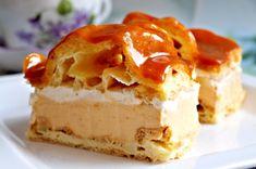 Dezert chutnající po klasickém větrníku, ale servírovaný jako řezy z plechu. Další z inspirací prezentovaných Láďou Hruškou na obrazovce TV Nova. Dessert Recipes, Desserts, Mashed Potatoes, Sweet Tooth, Cheesecake, Sweets, Nova, Ethnic Recipes, Tailgate Desserts