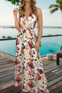 Women's V Neck Suspender Dresses 2021 Spring Summer New Sleeveless Hight Waist Floral Printed Long Dresses For Fashionable Casual Dresses, Maxi Dresses, Long Dresses, Suspender Dress, Vacation Dresses, Floral Maxi Dress, Sleeve Styles, Elegant, Spaghetti