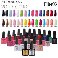 Elite99 (Any 20 Colors) Soak Off Gel Nail Polish UV LED Color Nail Art 5PCS Gift Set >>> Click on the image for additional details.