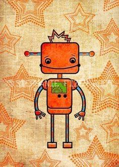 kids robot art - Orange Robot Art Print - Nursery art prints, baby nursery, nursery decor, nursery wall art, kids art. $10.00, via Etsy.