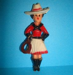 Vintage Western Fabulous Vintage Plastic Cowgirl with Lasso Rope