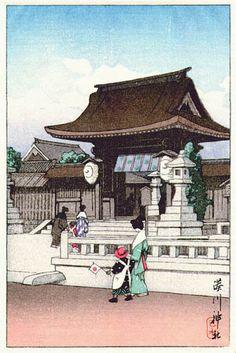 hanga gallery . . . torii gallery: Minatogawa Shrine, Kobe by Kawase Hasui