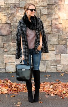 J. Crew Tweed Top (or similar here & here), c/o Windsor Plaid Cape, Forever 21 Faux Fur Infinity Scarf,  c/o Old Navy RockStar Skinny Jeans (under $30!), Forever 21 Boots, Zara bag (similar), Zara Bracelets Lips: L'Oreal Colour Riche Tickled Pink
