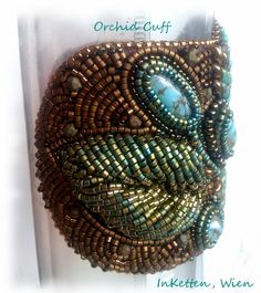 Bead embroidery, Cabochon, Glas, Türkis, Cuff, Bracelet, Armband, Armreif, Manchette
