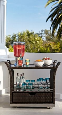Our elegant, all-weather Ultimate Serving Cart makes entertaining outdoors easier.