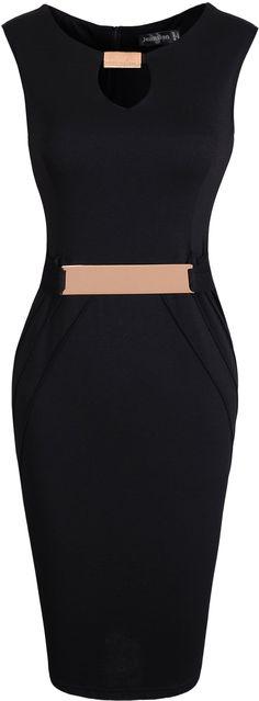 jeansian Women's Formal Metal Buckle V-neck Knee-length Gowns Pencil Dress WKD187