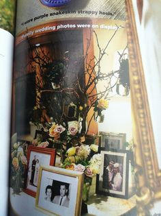table with family wedding photos - nice thought