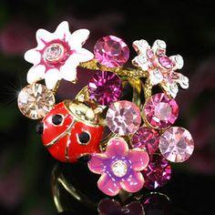 Ladybug Flower Austrian Crystal Ring