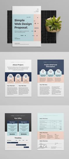 Web Design Proposal Template by broluthfi on Envato Elements – Garden Projects Web Design Trends, Design Web, One Pager Design, Web Design Tutorial, Simple Web Design, Web Design Quotes, Design Food, Website Design, Page Design