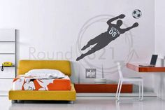 Soccer 6 Wall Decal and Soccer Ball - Personalized with Name & Number -  Childrens Room - Infant Room Decal