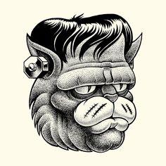 Illustration d'une tête de chat dans le style frankenstein