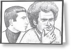 Portrait of Simon and Garfunkel Greeting Card by Joan-Violet Stretch