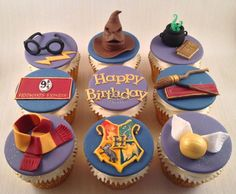 Harry potter cupcake toppers cupcake toppers in 2019 кексы, Harry Potter Cupcakes, Harry Potter Cupcake Toppers, Bolo Harry Potter, Gateau Harry Potter, Harry Potter Fiesta, Harry Potter Thema, Harry Potter Birthday Cake, Harry Potter Food, Fondant Cupcake Toppers