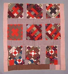 Chimney Sweep Variation quilt;  hand-pieced, hand-quilted; Measurements overall: 193 cm x 172 cm