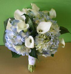 blue hydrangea and white calla lily bridal bouquet