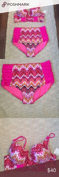Hot pink bikini 2 piece bikini, top is molded and wired corset back. Bottom is high waisted brief. Hot pink with nice pattern. New with tags, size 3X fits size 18/20 Tini bikini swimwear  Swim Bikinis